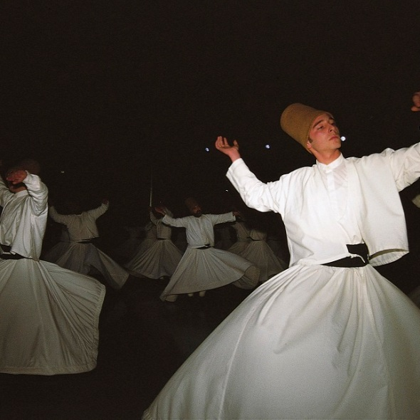 Whirling dervishes performing at the festival in Konya in December